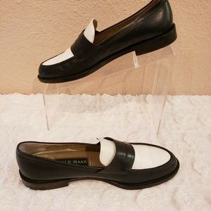 Cole Haan Made Italy Blue White Leather Loafers